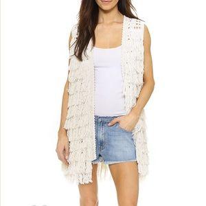 Alice + Olivia 'Weiss' Silk Blend Fringe Vest